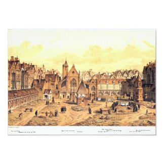 Engraving of Saints Innocents Cemetery in Paris Card