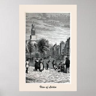 Engraving view of Leiden Poster