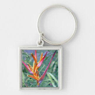 Enhanced Hawaiian Heliconia Flower Keychain