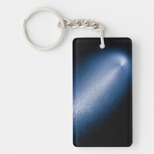 Enhanced Hubble Image of Comet Rectangle Acrylic Key Chain