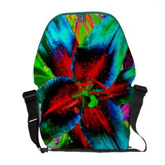 Enhanced Red Lily Messenger Bag