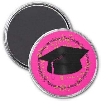 Enhorabuena 3 imán redondo rosa y negro del grad