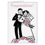 Enhorabuena a la tarjeta de novia y del novio