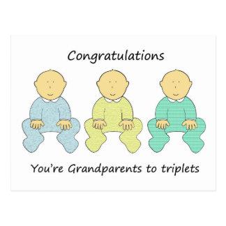 Enhorabuena, abuelos a los tríos postal