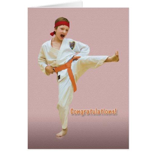 Enhorabuena, adelanto de la correa del karate, nar felicitacion