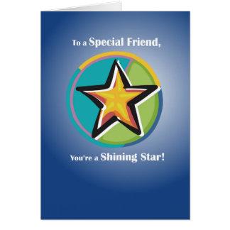 Enhorabuena al amigo con la estrella brillante en tarjeta de felicitación