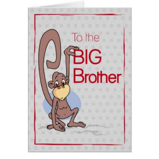 Enhorabuena al hermano mayor, mono lindo tarjetón