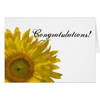 Enhorabuena amarilla del girasol tarjetón