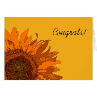 Enhorabuena anaranjada del girasol felicitacion