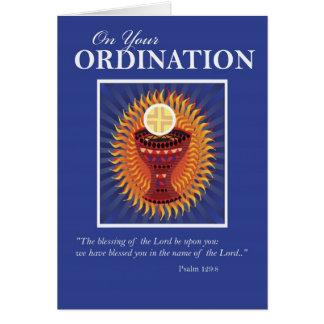 Enhorabuena anfitrión y taza de la ordenación tarjeta de felicitación