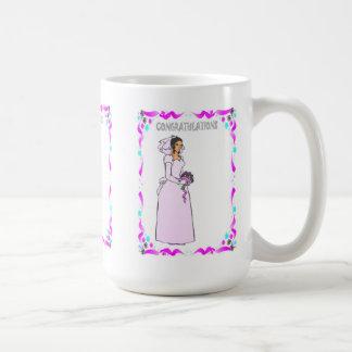Enhorabuena, azul de la novia taza básica blanca