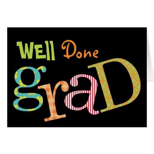 Enhorabuena bien hecha colorida del graduado del e felicitaciones