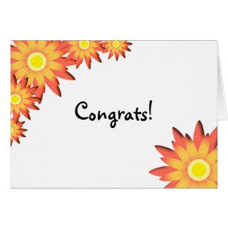 Enhorabuena brillante del girasol tarjeta