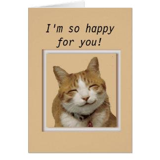 Enhorabuena con el gato feliz tarjeta de felicitación