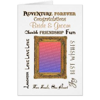 Enhorabuena de encargo del marco del oro del boda tarjeta de felicitación