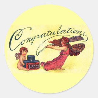 Enhorabuena de hadas pegatina redonda