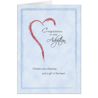 Enhorabuena de la adopción del muchacho, azul, tarjeta de felicitación