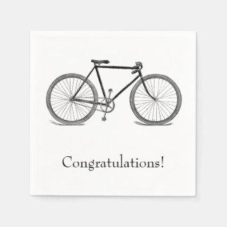 Enhorabuena de la bicicleta del vintage servilletas de papel