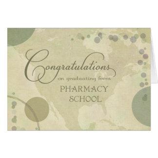 Enhorabuena de la escuela de la farmacia - colores tarjeta de felicitación
