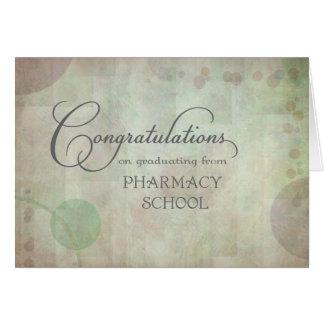 Enhorabuena de la escuela de la farmacia tarjeta de felicitación