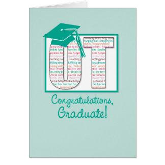 Enhorabuena de la graduación de la terapia tarjeta de felicitación