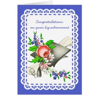 Enhorabuena de la graduación del vintage tarjetón
