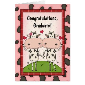 Enhorabuena de la graduación - vacas tarjetón