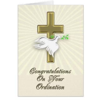 Enhorabuena de la ordenación con una cruz de oro felicitación