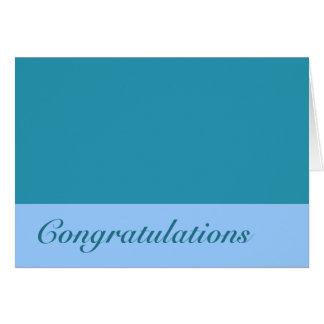 Enhorabuena de las azules turquesas tarjetón