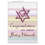 Enhorabuena de Mitzvah del palo Tarjeton