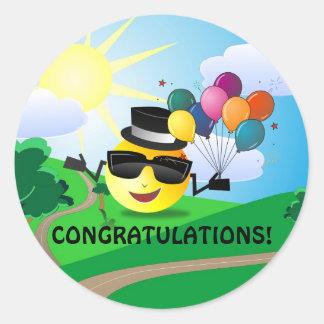 ¡Enhorabuena! de smiley Pegatina Redonda