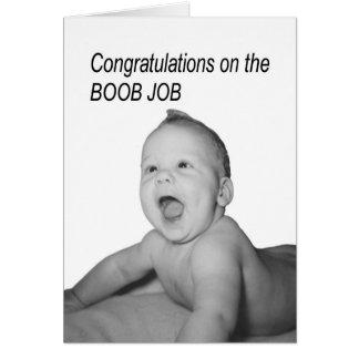 Enhorabuena del bebé del trabajo del Boob Tarjeta De Felicitación