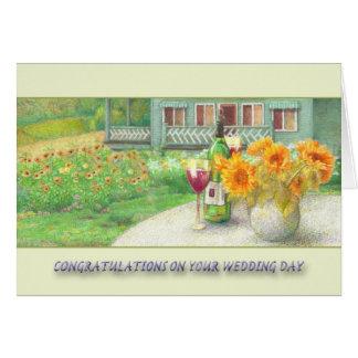 enhorabuena del boda de la cabaña del girasol tarjeta de felicitación
