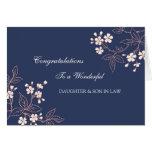Enhorabuena del boda de la hija y del yerno azul felicitación