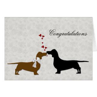 Enhorabuena del boda del Dachshund Tarjeta De Felicitación