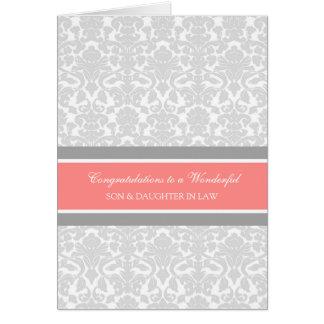 Enhorabuena del boda del hijo y de la nuera gris tarjeta de felicitación