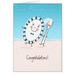 Enhorabuena del boda del plato y de la cuchara tarjetas