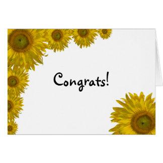 Enhorabuena del borde del girasol tarjeton
