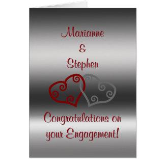 Enhorabuena del compromiso, corazones maoríes tarjeta de felicitación
