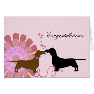 Enhorabuena del compromiso del boda de Doxie Tarjeta De Felicitación