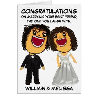 Enhorabuena del dibujo animado de novia y del novi tarjeta de felicitación