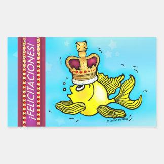 Enhorabuena del español de los pescados de la pegatina rectangular