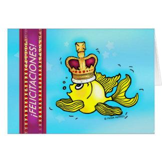Enhorabuena del español de los pescados de la tarjeta de felicitación