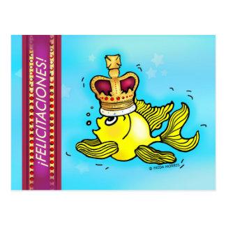 Enhorabuena del español de los pescados de la tarjetas postales