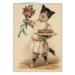 Enhorabuena del gato del panadero del Victorian y  Tarjeta