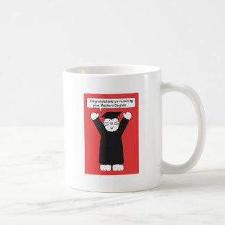 Enhorabuena del masters, amante del gato taza básica blanca