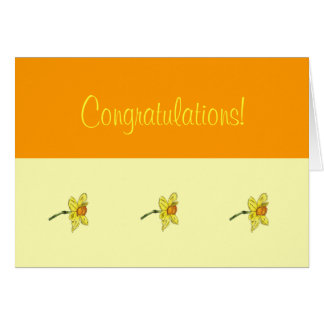Enhorabuena del narciso (narciso) tarjeta pequeña