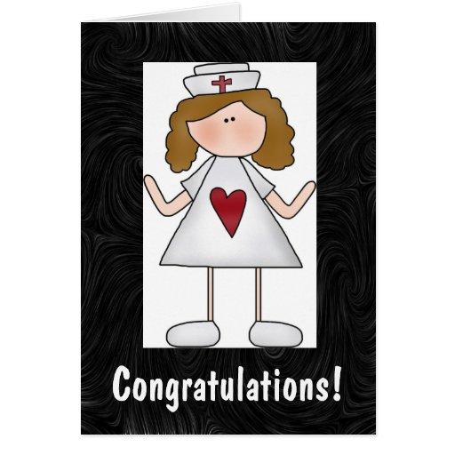 Enhorabuena del oficio de enfermera tarjeta de felicitación