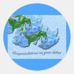 Enhorabuena del principio de los Bluebells de Etiquetas Redondas
