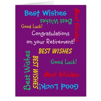Enhorabuena del retiro todos nosotros, ENORME Tarjeta De Felicitación Grande